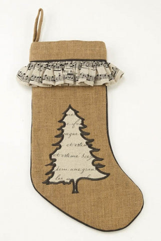 Burlap With Applique Christmas Tree And  Musical Note Ruffle Stocking, Natural,Black,Cream...Designed By D.Stevens