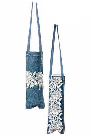 Flower Holder Denim Lace And  Jewels, Set ,2...Designed By D.Stevens