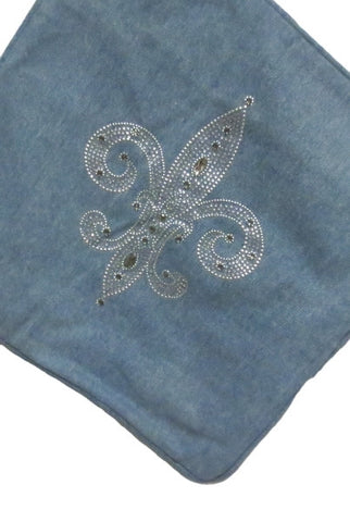 Pillow Denim, Jeweled Fleur De Lis, Cover Only...Designed By D.Stevens