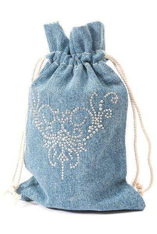 Draw String Bag, Denim, Crystal Design...Designed By D.Stevens