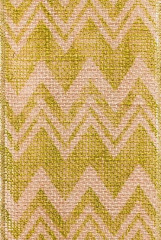 Chevron Printed Burlap, Hot Green...Designed By D.Stevens