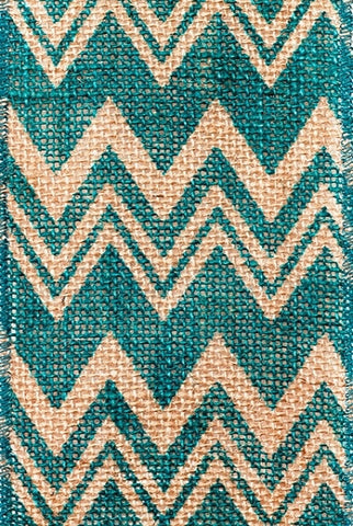Chevron Printed Burlap, Teal...Designed By D.Stevens