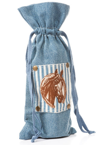 Wine Bag, Denim, Horse Patch...Designed By D.Stevens