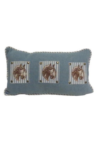 Rectangle Pillow, Denim, Horse  Patch...Designed By D.Stevens