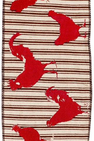 Printed Red, Roosters And  Hens Chicken,  Brown Ticking...Designed By D.Stevens