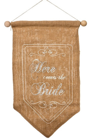 "Banner, ""Here Comes The Bride, Back Side, Just Married, Burlap,Lace, Off White Printing...Designed By D.Stevens"