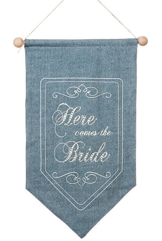 "Banner, ""Here Comes The Bride, Back Side, Just Married, Denim, White Printing...Designed By D.Stevens"