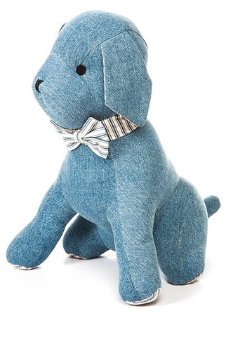 Denim Dog, With Blue Ticking...Designed By D.Stevens