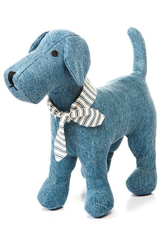 Denim Terrier Dog , With Ticking Scarf...Designed By D.Stevens