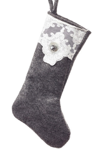 Small Stocking, Felt Lace Pearls And Shells, Grey...Designed By D.Stevens
