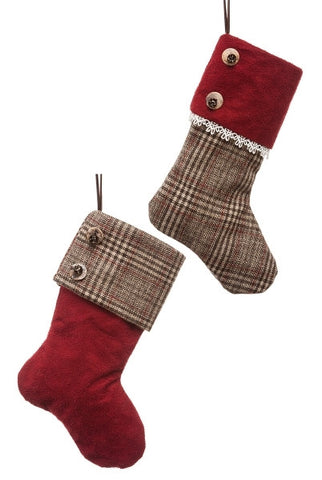 Wool Glen Plaid Mini Stocking, Merlot Suede,Lace...Designed By D.Stevens