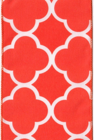 Cotton Quatrefoil Tile, Orange,White...Designed By D.Stevens
