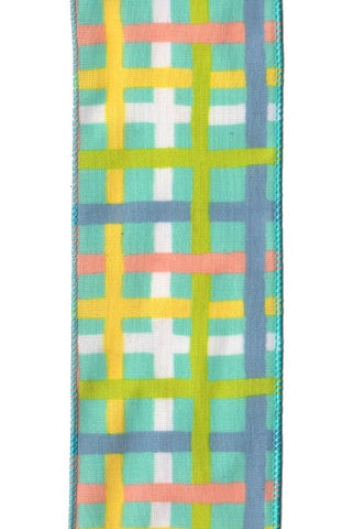 Canvas Plaid, Blue Green Yellow Coral...Designed By D.Stevens
