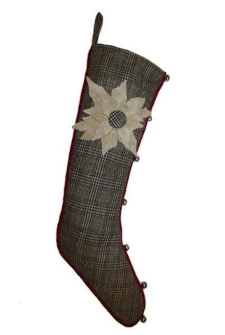 Faux Wool Glen Plaid Christmas Stocking Cream Felt Poinsettia,  Grey...Designed By D.Stevens