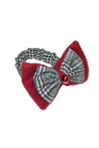Grey And  Felt Bow Tie Wine Collar...Designed By D.Stevens