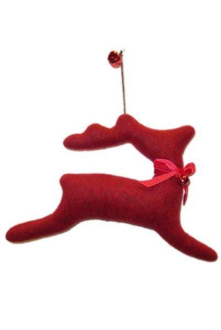 Heather Felt Running Deer Christmas Ornament With Bell Red...Designed By D.Stevens