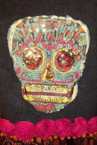 Felt Day Of The Dead Skull Teal/Black