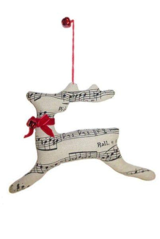 9 Inch Linen Music Reindeer Ornament Red Velvet Bow And Bell Natural