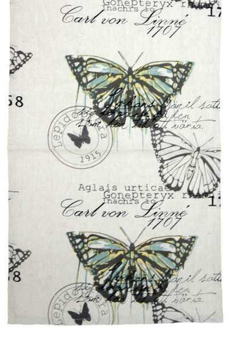 Linen Printed Butterfly Script Runner, Natural/Green...Designed By D.Stevens