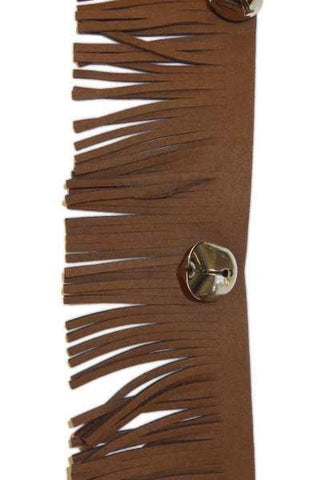 Faux Leather Fringe With Silver Bells Christmas Garland, Brown