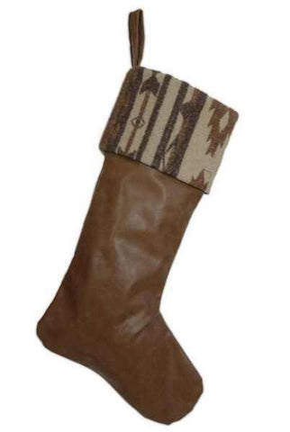 Faux Leather With Indian Blanket Cuff Christmas Stocking, Brown