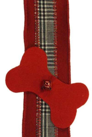 Faux Wool Glen Plaid Christmas Bell Garland With Red Bells Black White