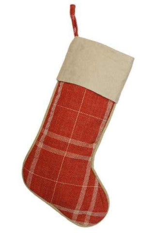 Faux Burlap Plaid Christmas Stocking With Natural Kraft Paper Cuff Barn Red