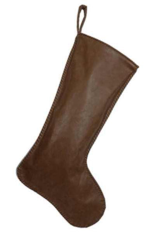 Leather Christmas Stocking, Hand Stitched Edges, Dark Brown Leather