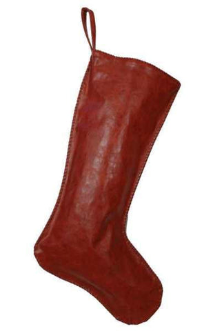 Leather Christmas Stocking, Hand Stitched Edges, Dark Red Leather