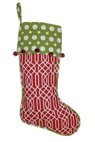 Canvas Polka Dot Print Christmas Stocking With Red Quatrefoil Cuff With Red Bells, Green/White