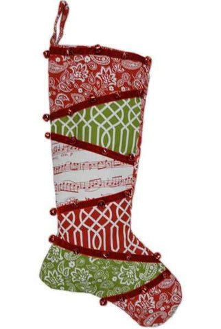 Canvas Patchwork Print Christmas Stocking With Red Bells, Green/White/Red