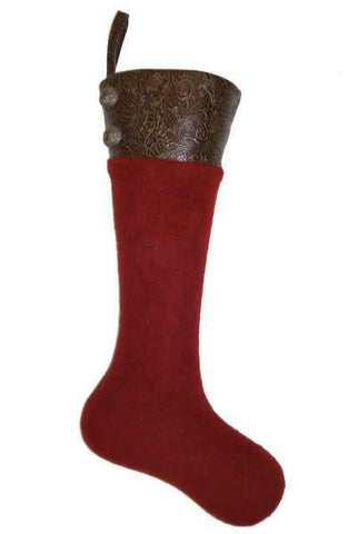 Heather Felt With Brown Faux Tool Leather Cuff Pvc Stocking With Pewter Buttons, Red D Stevens Exclusive Design, By Donna Stevens
