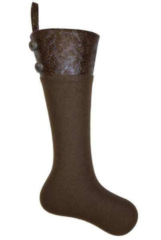 Heather Felt/Brown Faux Tool Leather Cuff Pvc Stocking With Pewter Buttons, Brown