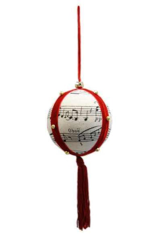 100Mm Linen Music Note Ball Ornament With Red Tassel Black Natural
