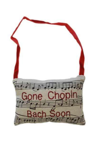 6 Inch x 4 Inch linen music door pillow red embroidery  Inch Gone Chopin Be Back Soon Inch , black/natural