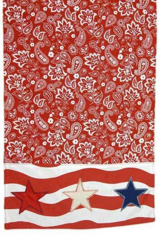 Canvas Bandana Stripe Applique Stars Runner Red