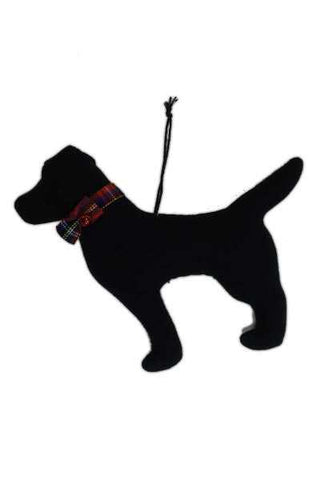 Faux Wool Dog Christmas Ornament Black