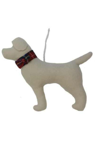 Faux Wool Dog Christmas Ornament Beige