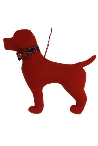 Faux Wool Dog Christmas Ornament Red