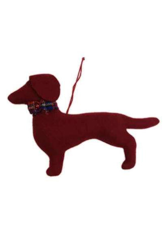 Faux Wool Dachshund Christmas Ornament Reddish Brown