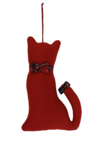 Faux Wool Cat Christmas Ornament With Bow Collar And Bow On Tail Red