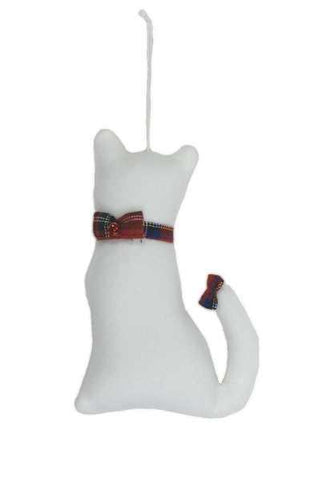 Faux Wool Cat Christmas Ornament With Bow Collar And Bow On Tail White