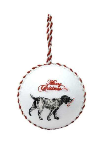 Linen Bird Dog Ornament Grey Black