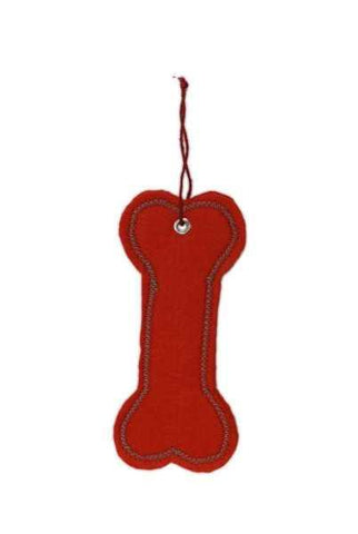 6 Inch Felt Paper Dog Bone Tag Red