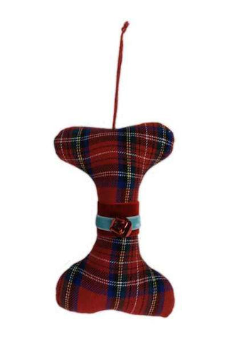 6 Inch Wool Dog Bone Ornament Plaid