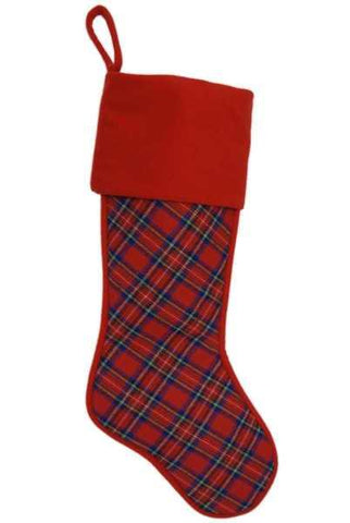 Faux Plaid Wool Stocking Red Wool Cuff Red