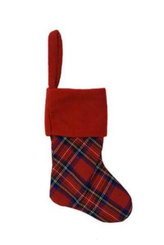 9.5 Inch Faux Wool Plaid Mini Stocking Plain Red Cuff  Plaid