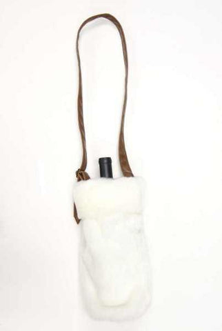 13 Inch Faux Fur Faux Leather Wine Bag Winter White Brown
