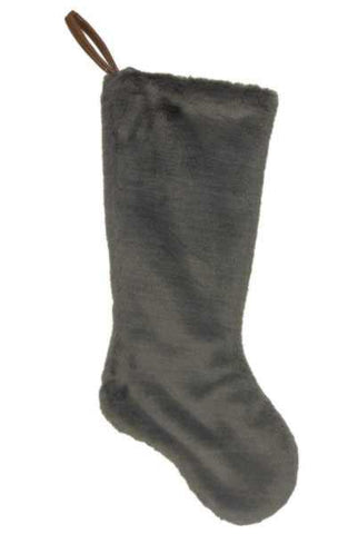 Faux Fur Stocking Dark Taupe