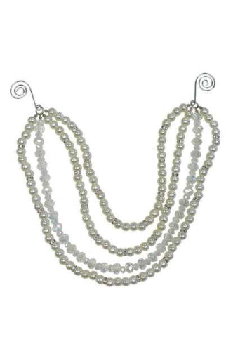 Pearl Four Strand Swag Pearl Iridescent With Crystal Spacer Pearl